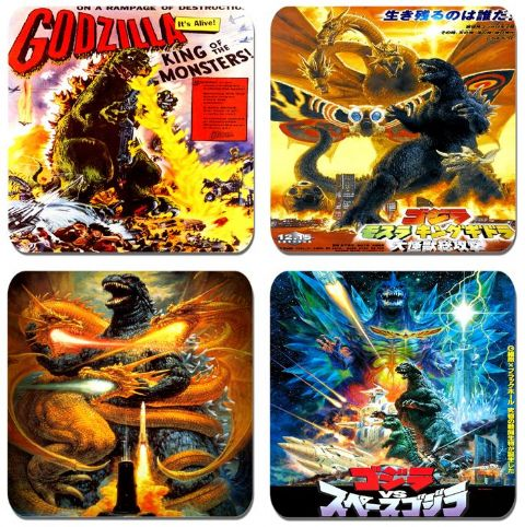 Godzilla  Coasters Set.  Movie Poster: Mothra And King Ghidora King Of Monsters, Godzilla vs Space